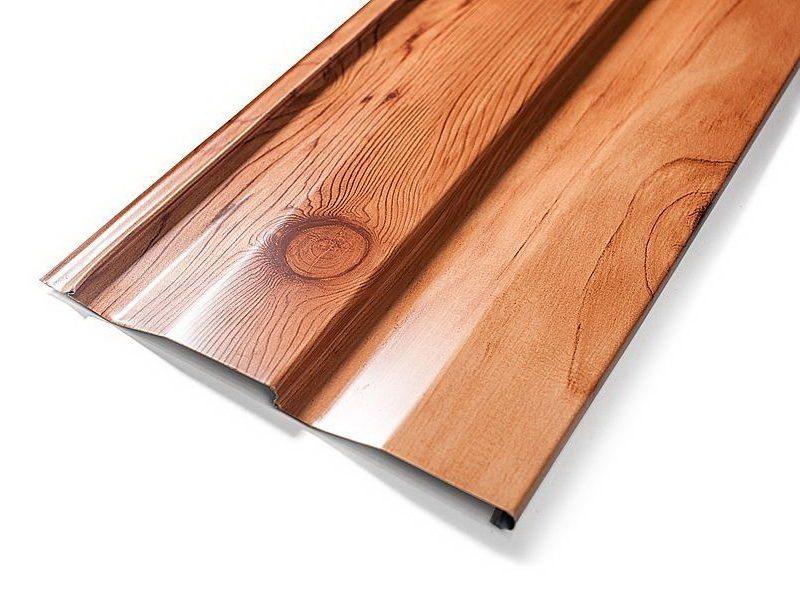 Металлический сайдинг может достоверно имитировать фактуру дерева
