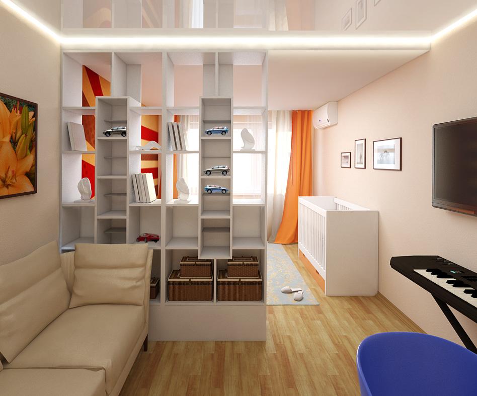 Дизайн комнаты спальня-зал