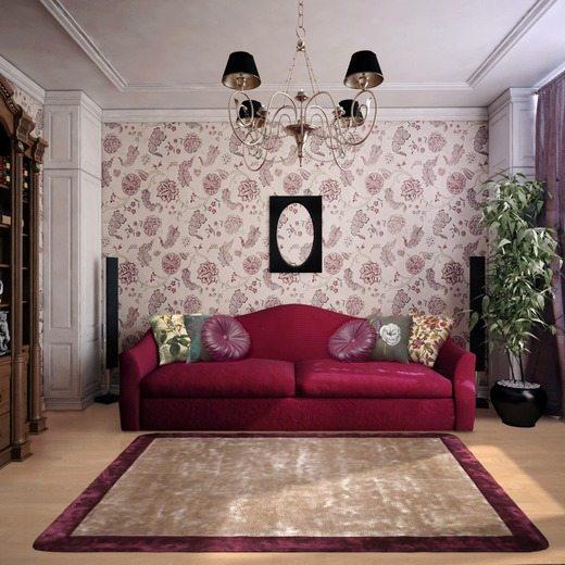 Мягкая мебель будет выглядеть эффектнее, если на пол постелить ковер.