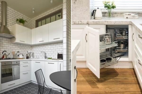На маленькой кухне особо важна «начинка» шкафов