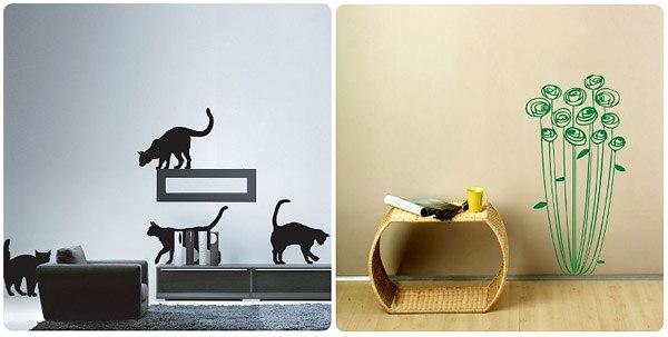 Дизайн гостиной со стикерами