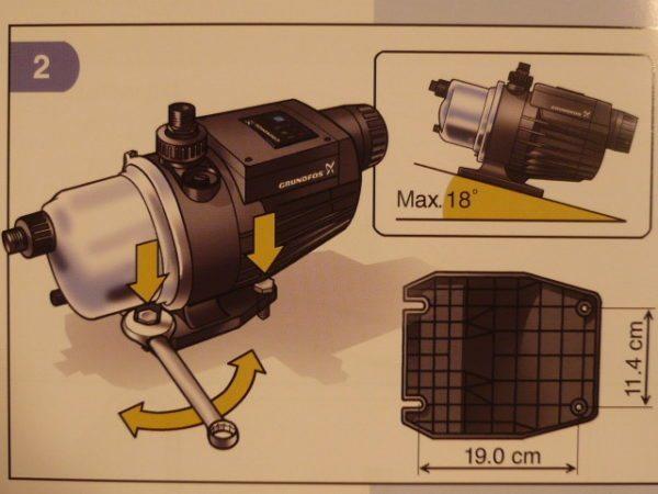 Насосная станция MQ может располагаться под уклоном не более 18 градусов