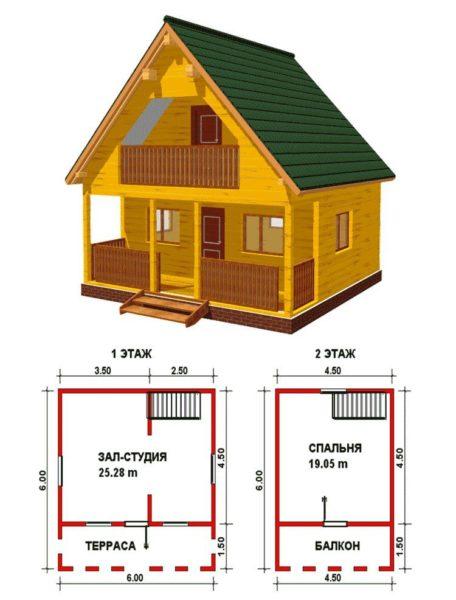 Ничего лишнего: маленький домик с вынесенной в мансарду спальней.