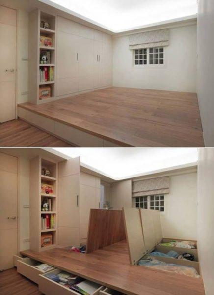 Ниша на полу — отличное решение, которое сэкономит вам площадь жилища.