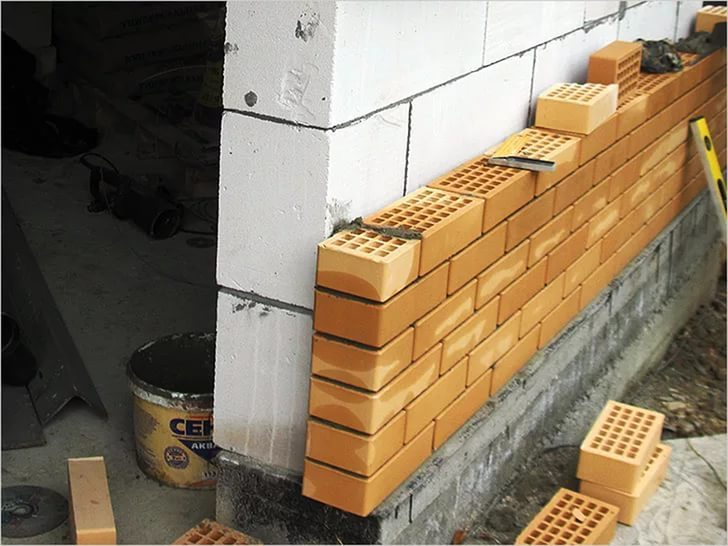 Облицовочные стены необходимо возводить на фундаменте