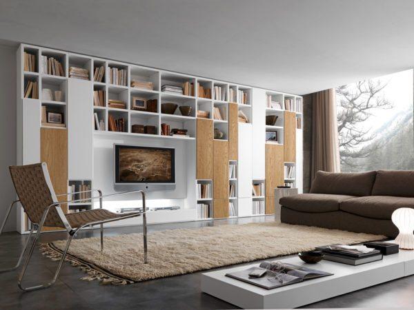 Оригинальный книжный шкаф в стиле минимализм.