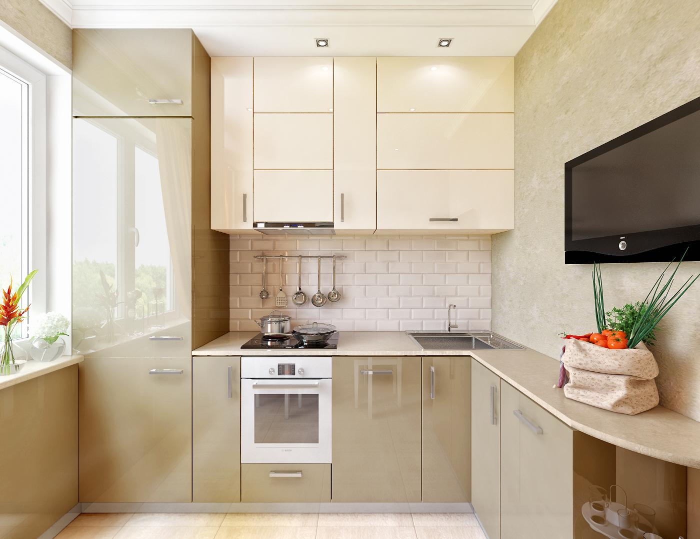 Дизайн угловой кухни фото 9 квм с холодильником фото
