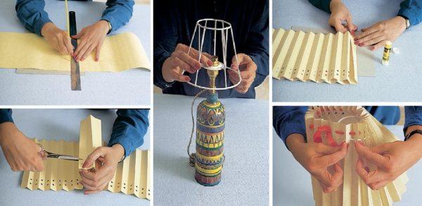 Переделка старого настольного светильника: новый абажур складывается из бумаги, стянутой витым шнуром или лентой.