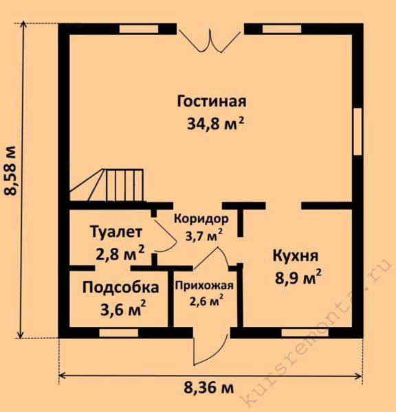 План-схема первого этажа проекта «Z1» включает в себя гостиную, кухню, туалет, подсобное помещение и прихожую
