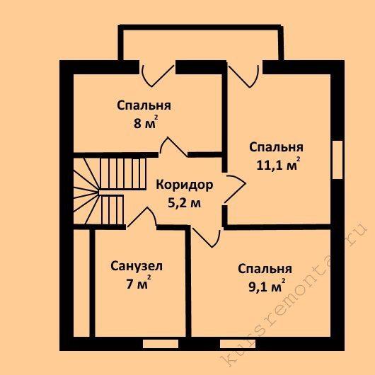 План-схема второго этажа проекта «Z1» включает в себя три спальни и санузел