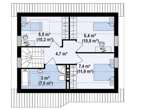 План-схема второго этажа проекта «Z71» включает в себя три спальни и ванную