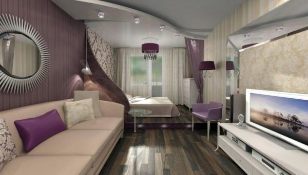 Подиум с подсветкой использован для разделения комнаты на зоны.