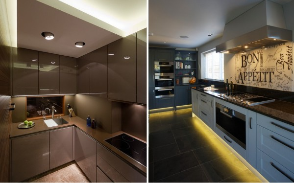 Подсветка кухни может быть верхней, боковой и нижней. Последний вариант мало функционален, но визуально делает мебель более легкой