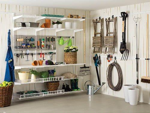 Подвесные элементы идеальны для хранения хозяйственного инвентаря.