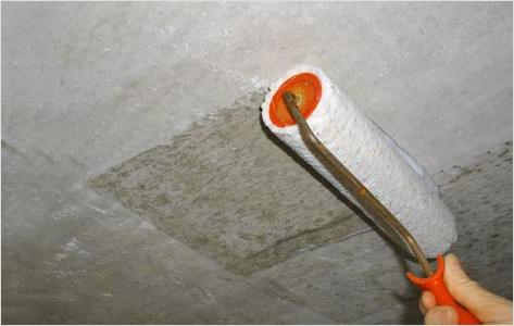 Потолок обрабатываем антисептической грунтовкой