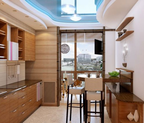 Кухня с балконом 10 кв.м дизайн