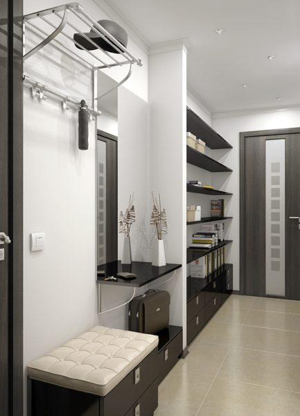 Прихожая в узкий коридор подбирается точно по размерам помещения