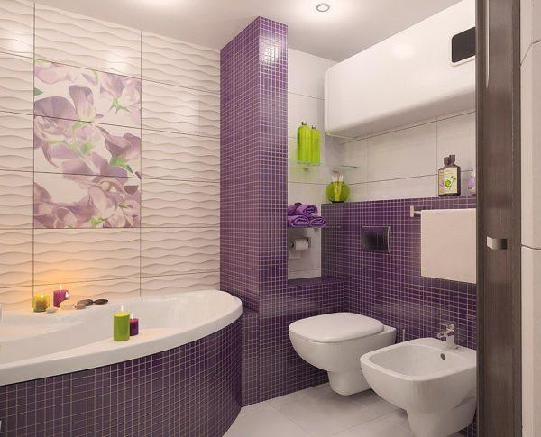 Пример эффектного сочетания разных видов плитки, при отделке совмещенных ванной и туалета