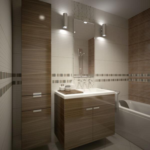 Пример использования бра в интерьере маленькой ванной комнаты
