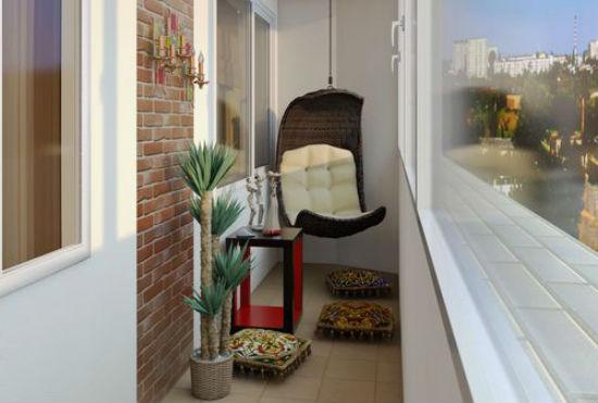 Пример использования виниловых обоев под кирпич в интерьере балкона