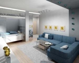 Пример разделения квартиры на рабочую и приватную зоны