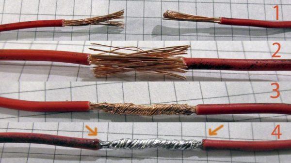 Примерно так выглядит процесс пропаивания скрутки многожильного медного провода