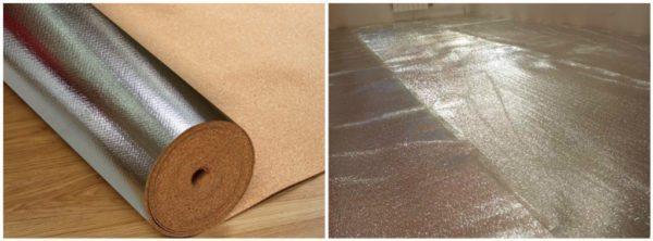 Пробковый материал с отражающим покрытием хорошо подходит для помещений с холодным полом