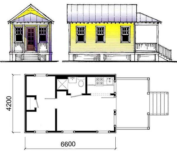 Проект дачного дома из бруса с указанием размеров.