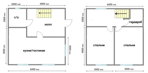 Проект дачного домика с двумя этажами общей площадью 72 квадрата. Жесткая экономия свободного места заставила обойтись одним санузлом на два этажа, что не очень удобно.