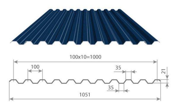 Профнастил марок С21-44 можно использовать на крыше без каких-либо ограничений