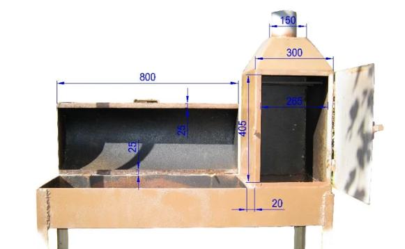 Размеры камер и дверец коптильни-мангала из металлических листов.