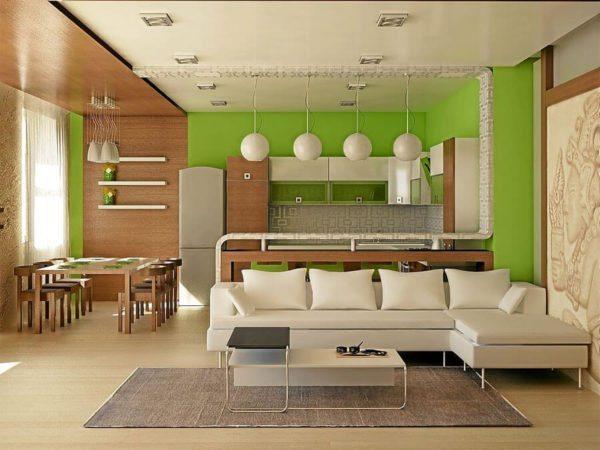 Разные цвета также могут использоваться для разделения комнаты на функциональные зоны.