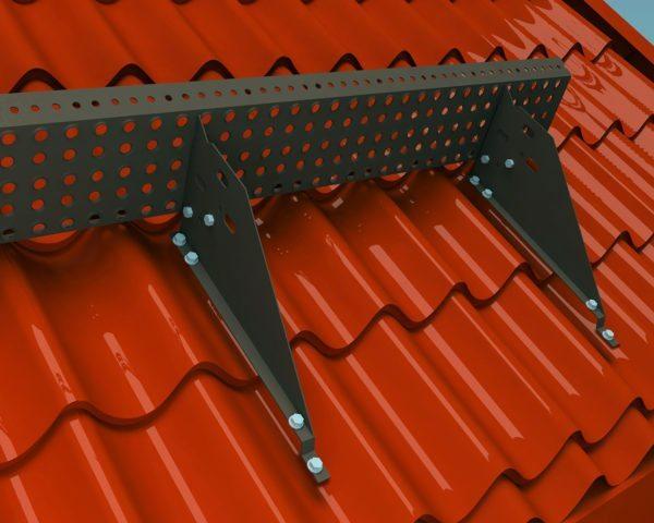 Решетчатые снегоупоры состоят из вертикальной решетки и кронштейнов