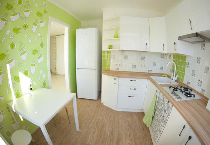 салатовые обои для кухни фото