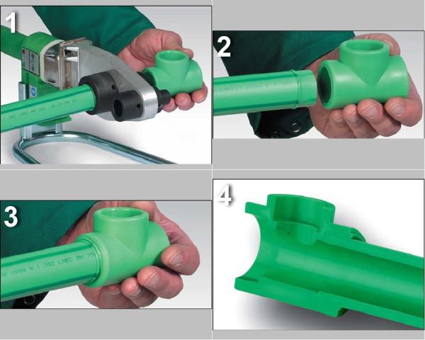 Схема пайки полипропиленовых труб