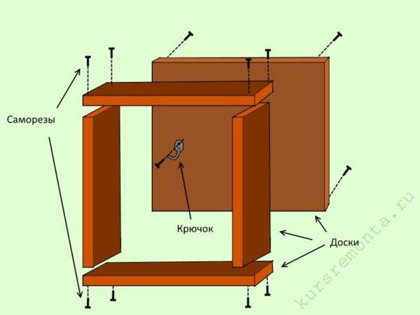 Схема сборки шкафчика под ключницу