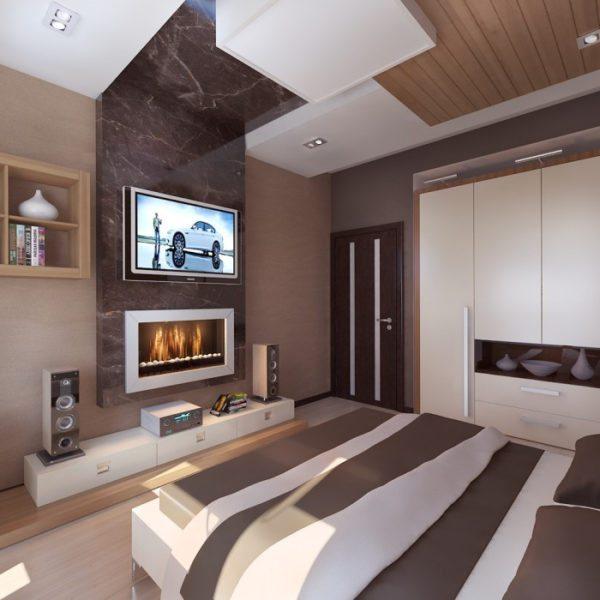 Современный хай-тек отлично подходит для небольших спален.