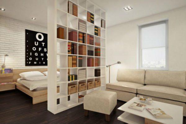 Стеллаж решит проблему не только разграничения комнаты, но и хранения книг