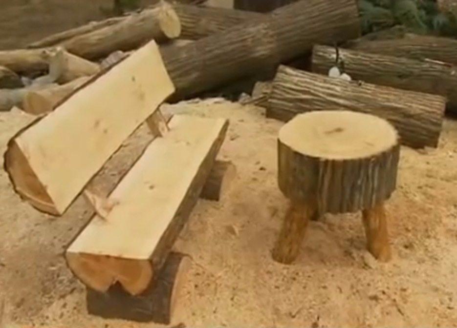 Как сделать скамейки из бревен