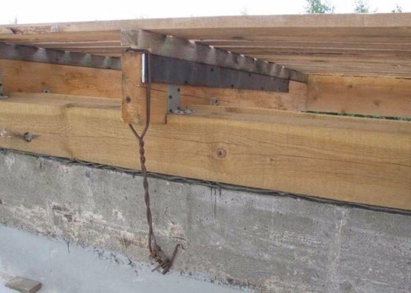 Стропила опираются на заанкеренный к армопоясу мауэрлат.