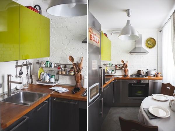 Угловая кухня с одним рядом верхних шкафов