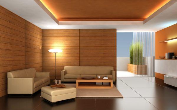В зале очень хорошо смотрятся натяжные потолки в тон остальной обстановке в комнате.