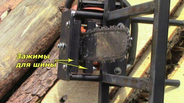 Вид зажимов шины с обратной стороны приспособления — такие зажимы обеспечат не только ровность реза, но и безопасность работы пилой
