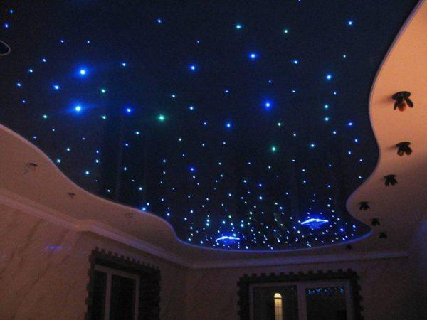 Внешний вид имитирующего ночное небо потолка.