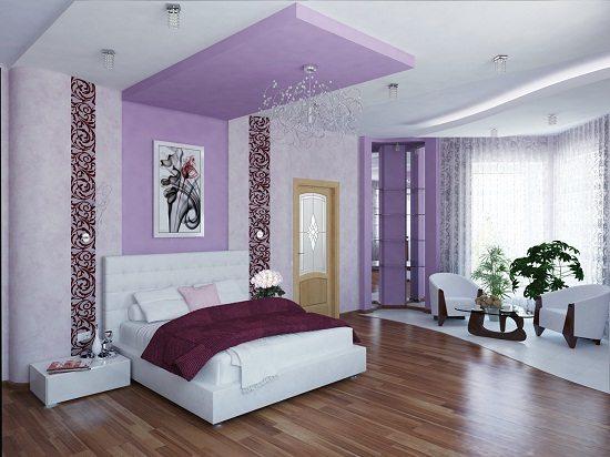 Выделить отдельную зону можно не только отделкой стен или пола, но и отделкой потолка