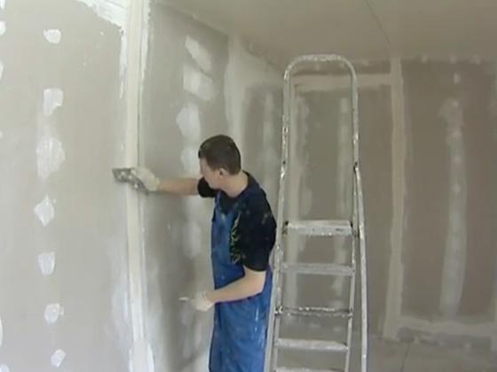 Выравнивание швов на стене из гипсокартона