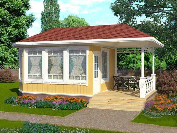 Закрытый вариант летней кухни с террасой для отдыха в теплый период