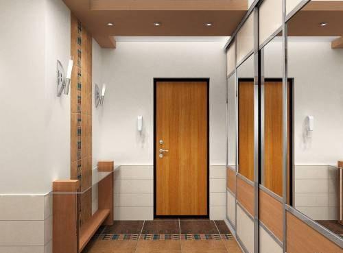 Зеркальные двери позволяют придать ощущение простора