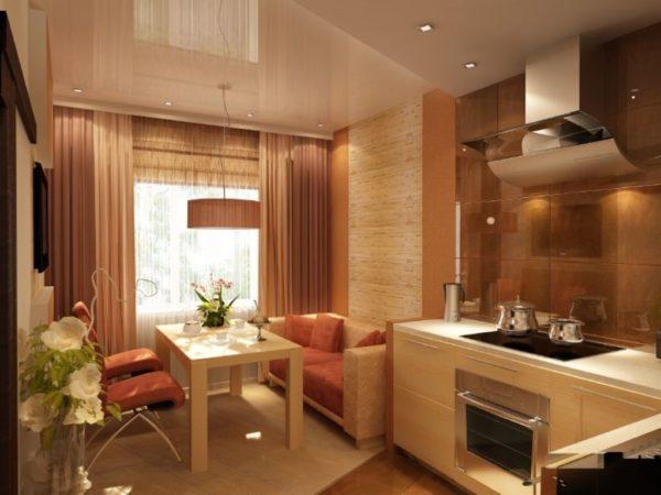 Зонирование отделочными материалами позволяет сэкономить пространство в помещении