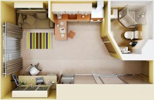 3D модель будущей квартиры-студии
